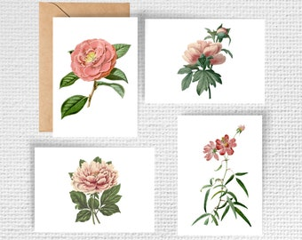 Vintage Pink Flowers Note Card Stationery Set (4 cards with envelopes)