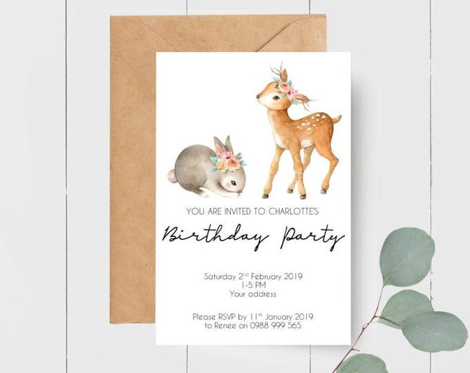 Printed Woodland Animal Birthday Party Invitations x 20