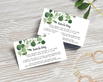 Greenery Eucalyptus Leaves Books for Baby Cards x 20