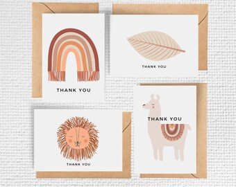 Boho Baby Shower Thank you Cards | Set of 8 Notecards