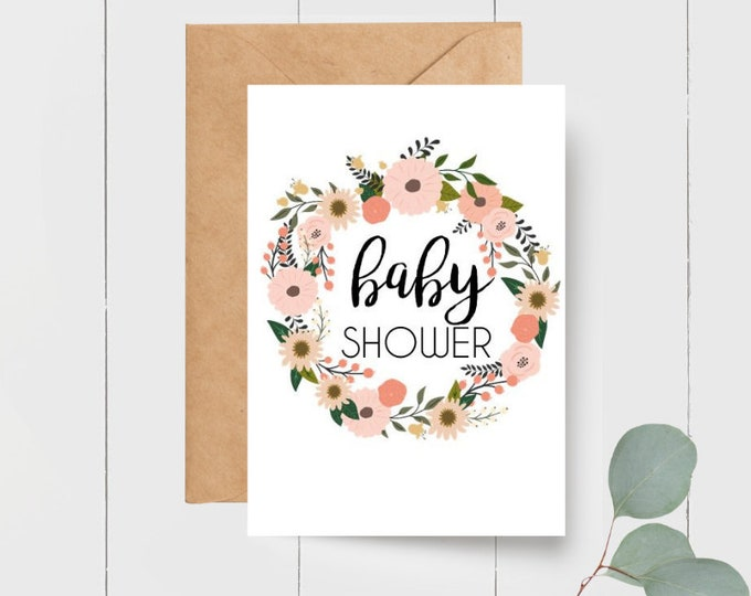 Floral Wreath Baby Shower Card