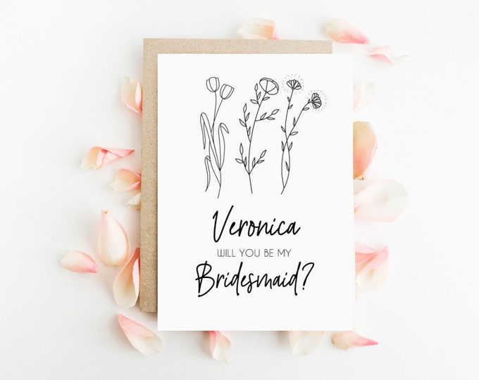 Personalised Wildflower Will you be my Bridesmaid Card