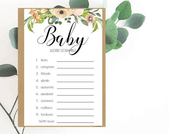 Watercolour Floral Baby Word Scramble cards x 20
