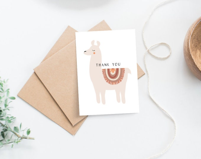 Featured listing image: Set of 8 Llama Baby Shower Thank you Cards
