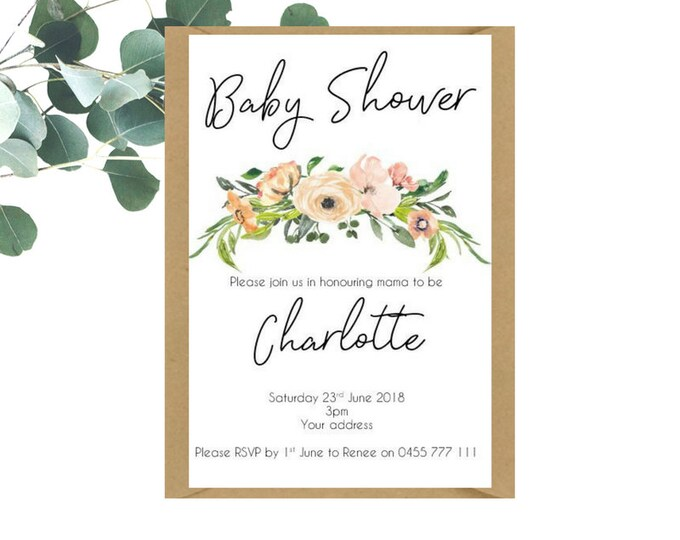 Floral Watercolour Baby Shower Invitations x 25