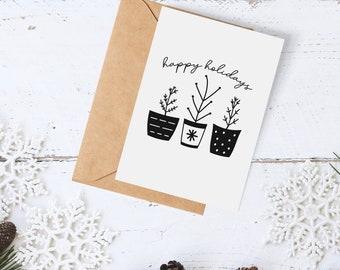 Modern Scandinavian Merry Christmas Cards - (Set of 4) | Happy Holidays