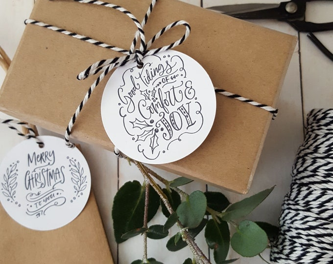 Merry Christmas Gift Tags (12)   Black and White Christmas   Merry & Bright