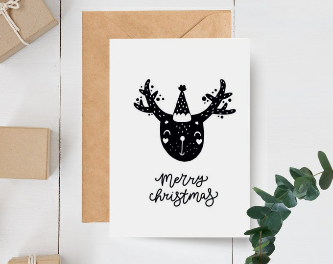 Monochrome Scandinavian Reindeer Merry Christmas Card