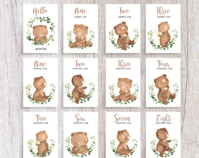Featured listing image: Woodland Bear Baby Milestone Cards   Printed