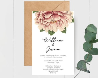 Vintage Peony Wedding Invitations x 50