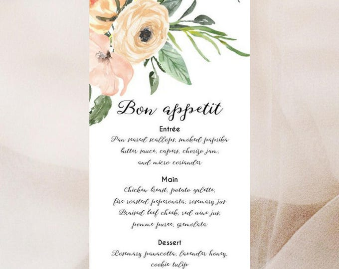Watercolour Floral Menu Cards x 50