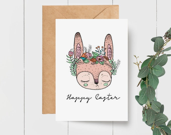 Floral Bunny Happy Easter Greeting Card