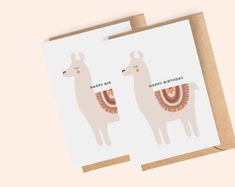 Boho Llama Birthday Card for Girl