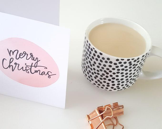 Blush Pink Modern Merry Christmas Card