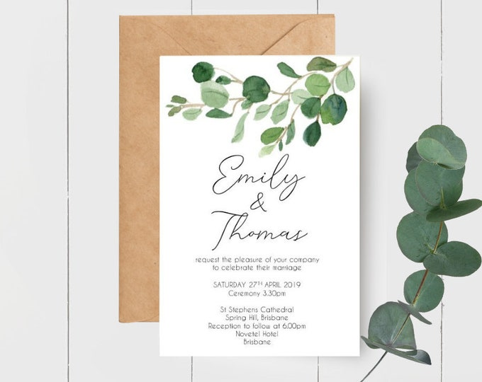 Eucalyptus Watercolour Leaves Wedding Invitations x 50