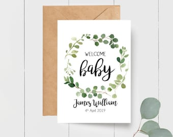 Personalised Eucalyptus Leaf Wreath Welcome Baby Card for new parents