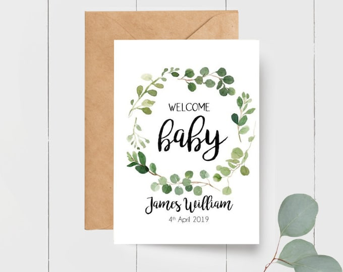 Personalised Welcome Baby Boy Keepsake Card + Gift Tag | Card for new Parents