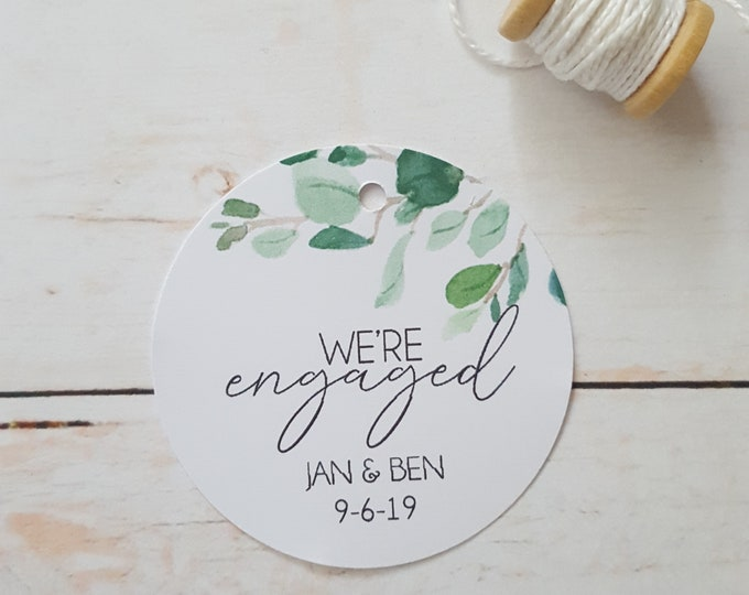 Eucalyptus Leaves We're Engaged Engagement Party Favour Tags