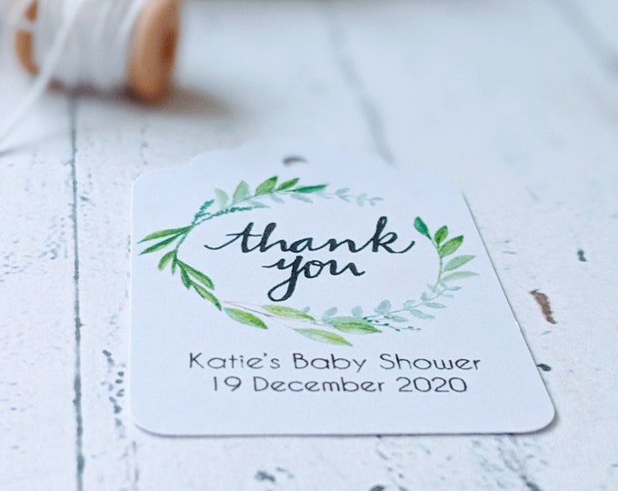 Watercolour Leaf Wreath Thank you Baby Shower Favour Tags (20)