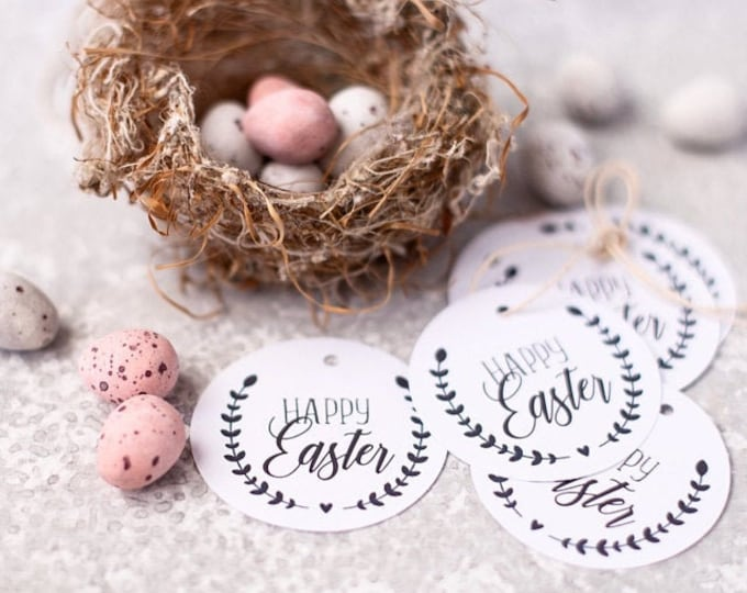 Leaf Wreath Happy Easter Gift Tags (12)