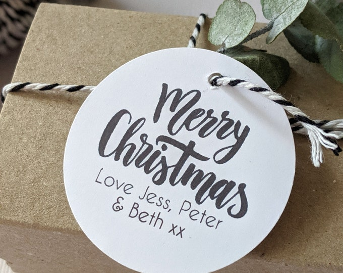 Personalised Modern Monochrome Merry Christmas Gift Tags
