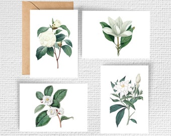 Vintage White Floral Note Cards - Set of 8