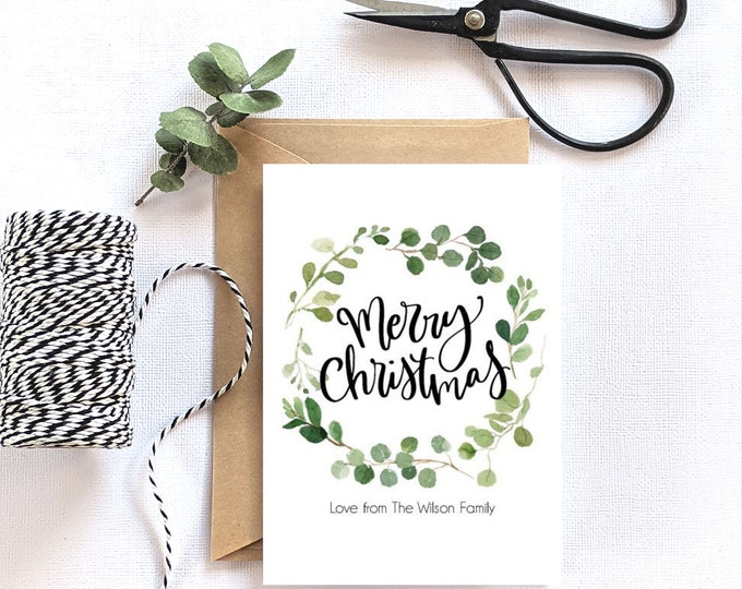Personalised Eucalyptus Leaf Wreath Merry Christmas Card x 15