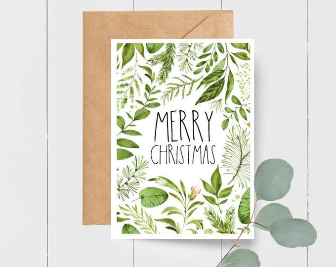 Botanical Merry Christmas Card