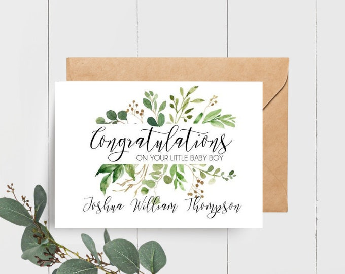 Personalised Congratulations on your Baby Boy Card | Card for new Parents