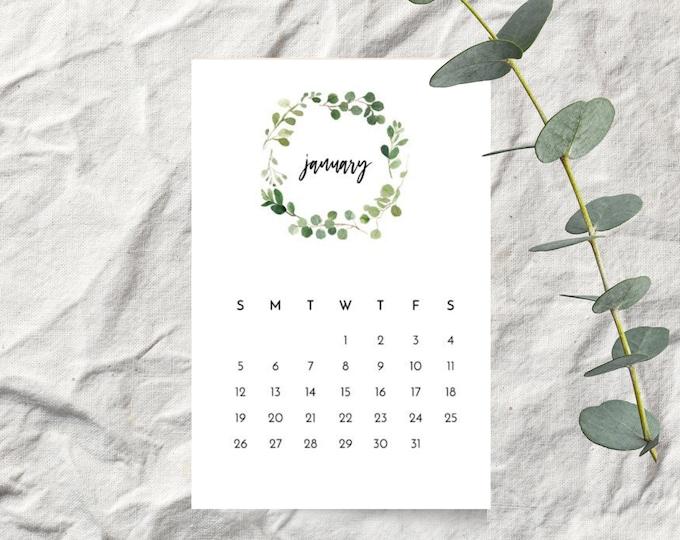 Eucalyptus Leaf Wreath 2020 Desk Calendar Cards