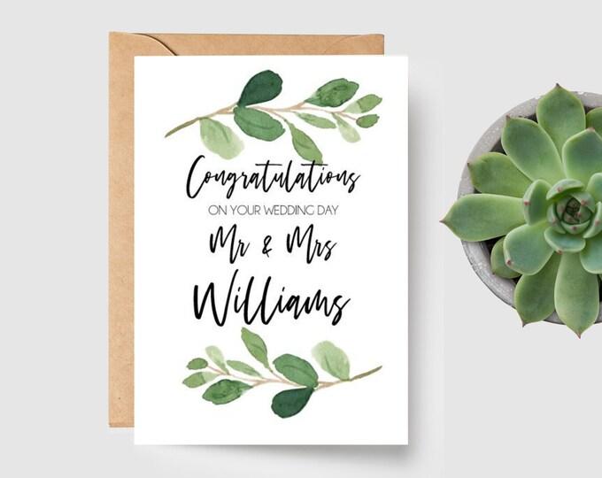 Eucalyptus Leaves Mr & Mrs Wedding Card