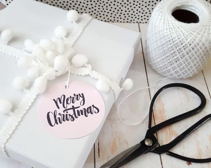 Blush Pink Modern Merry Christmas Gift Tags (20)