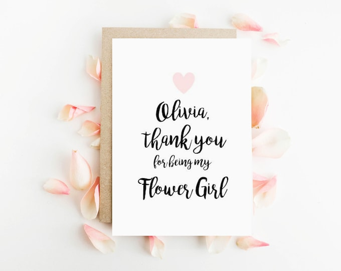 Personalised Thank you for being my Flower Girl Card
