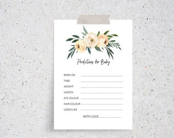 Floral Predictions for Baby cards x 12 | Baby Shower Game Cards