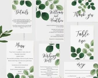 Botanical Greenery Wedding Invitation Suite