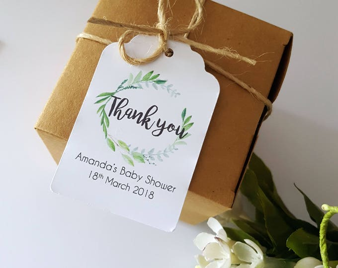 Watercolour Leaf Wreath Baby Shower Thank you Favour Tags - Set of 20