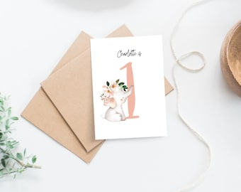 Personalised 1st Birthday Card for Girl   Pink Floral Elephant Age Birthday Card