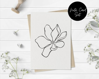 Black and White Floral Stationery Note Card Set