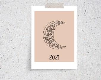 2021 Boho Celestial Monthly Desk Calendar Cards