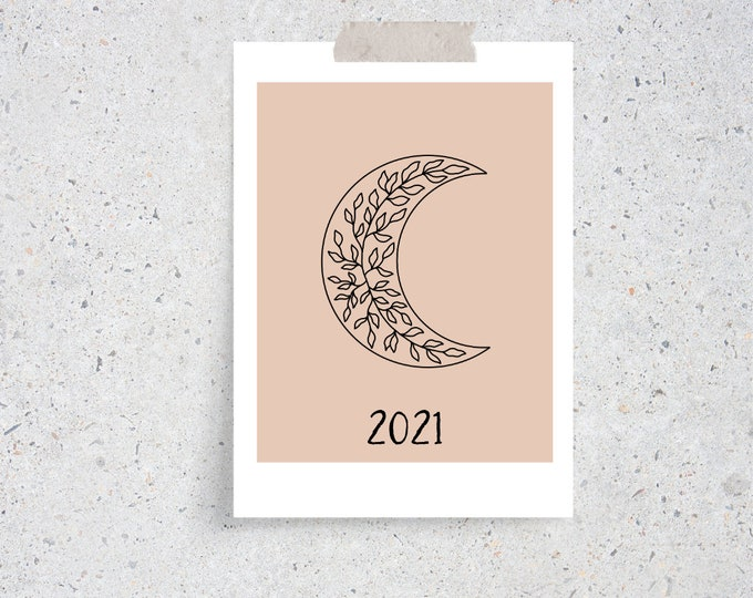 Featured listing image: 2021 Boho Celestial Monthly Desk Calendar Cards