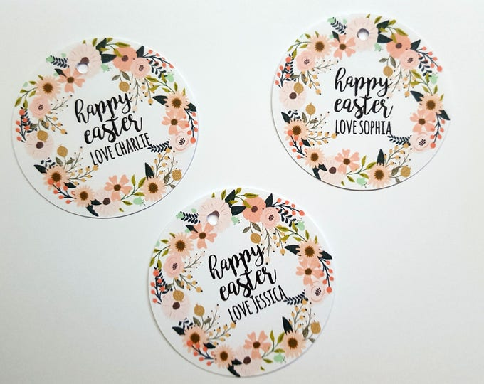 Personalised Floral Happy Easter Gift Tags | Tags for Easter Gift | Easter Party Favour Tags | Easter Class Gift
