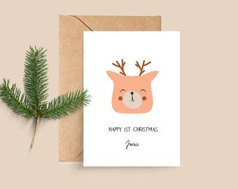 Boho Reindeer Cute Personalised Baby's First Christmas Card