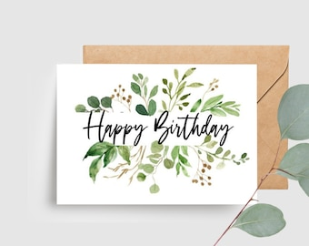 Botanical Leaves Happy Birthday Card