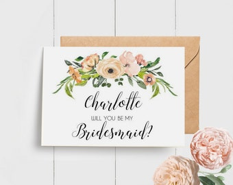 Floral Will you be my Bridesmaid Card