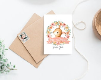 Personalised Baby's First Christmas Floral Wreath with Deer Card
