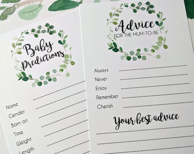 Eucalyptus Leaf Wreath Baby Prediction Cards (10)