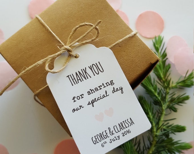 Personalised Wedding Thank you Favour Tags (20) | Custom Wedding Favours | Thank you for sharing our special day tags