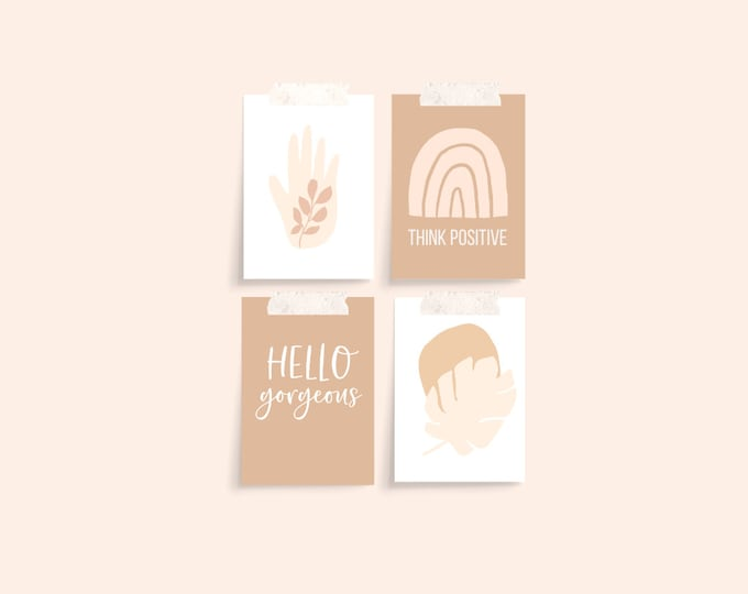 3 x 4 inch Printed Minimalist Planner Cards