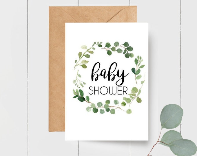 Eucalyptus Leaf Wreath Baby Shower Card
