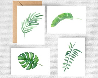 Watercolour Tropical Leaf Note Cards - Set of 8 | Botanical Note Cards | Monstera Note Cards